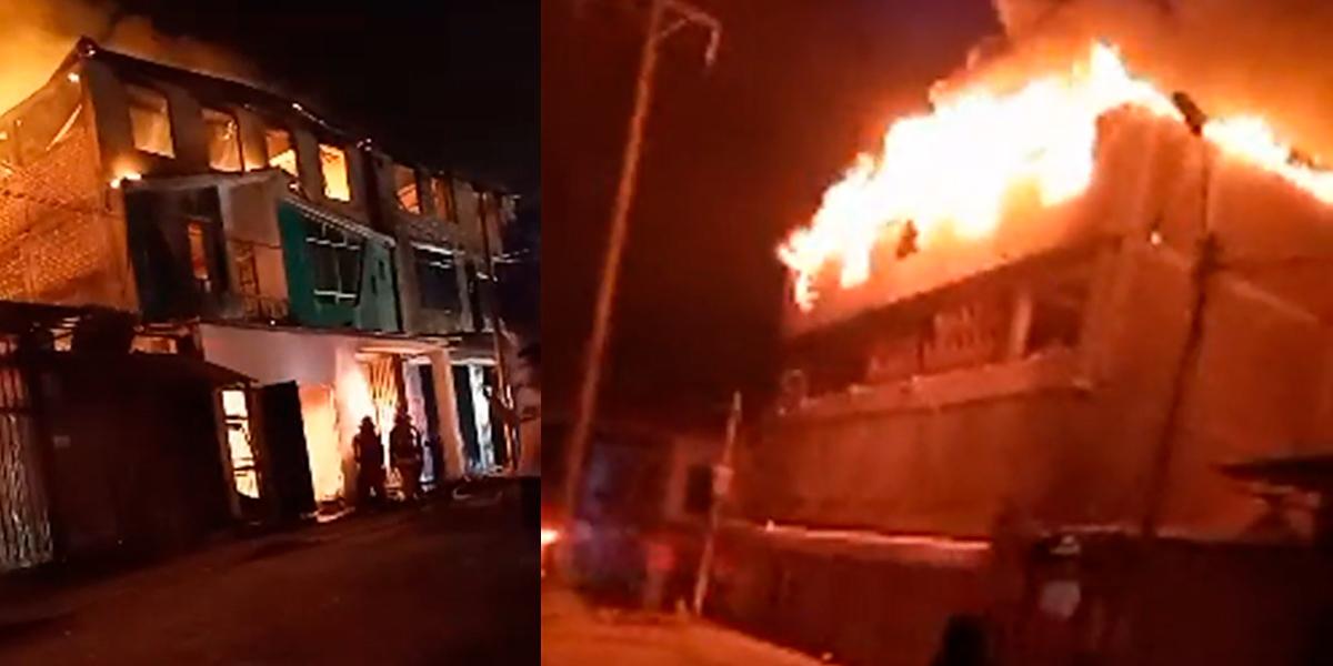 VMT: incendio de grandes proporciones consume media cuadra en la Av. Pachacútec