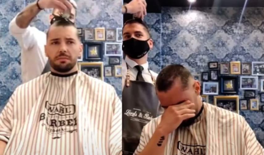 Barbero se rapa en solidaridad de su amigo con cáncer y escena conmueve a miles en YouTube