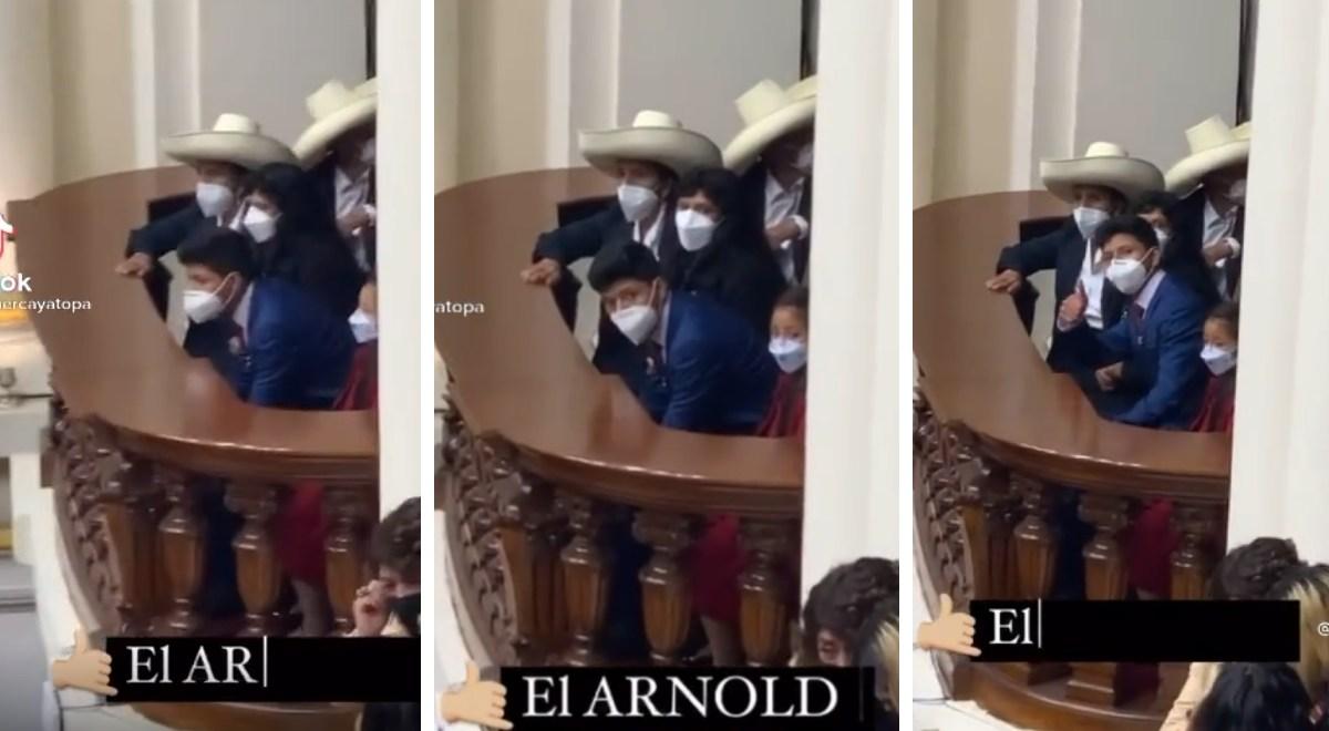 ¡Lindo! Hijo de Pedro Castillo es viral por peculiar saludo que tuvo en el Congreso