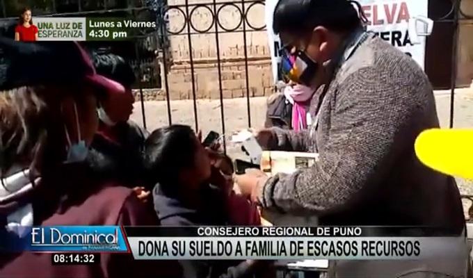 ¡Noble gesto! Consejero regional de Puno dona parte de su sueldo a las familias más necesitadas