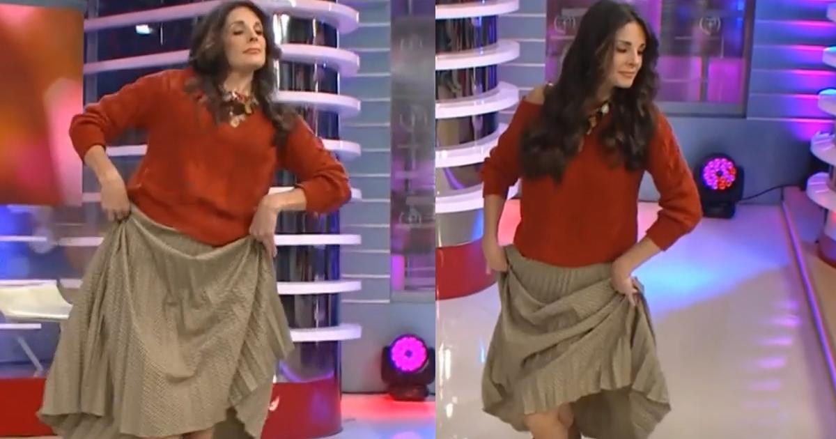 Rebeca Escribens casi se resbala en el set cuando bailaba marinera en vivo