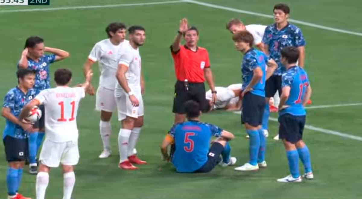 Japón vs. España por Tokio 2020: el árbitro peruano Kevin Ortega cobró penal, pero VAR lo corrigió
