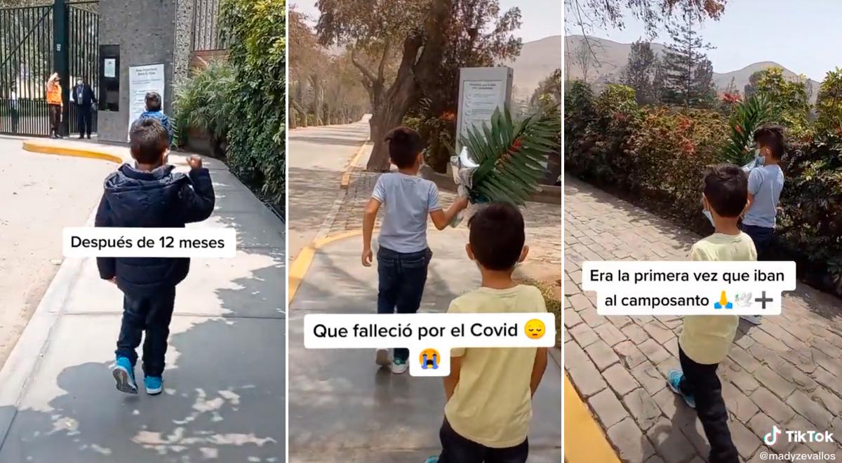 Niños conmueven a miles al visitar a su padre fallecido por COVID-19 por primera vez [VIDEO]