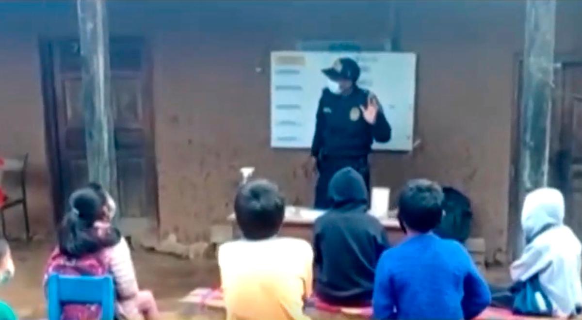 ¡Noble gesto! Policía ofrece clases gratuitas de inglés a niños en Amazonas