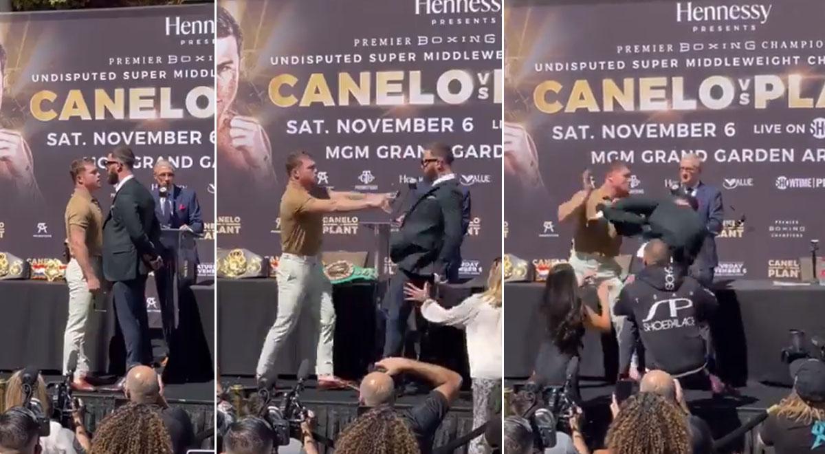 'Canelo' Álvarez se molestó con Caleb Plant por insultar a su madre en careo y se agarran a golpes [VIDEO]
