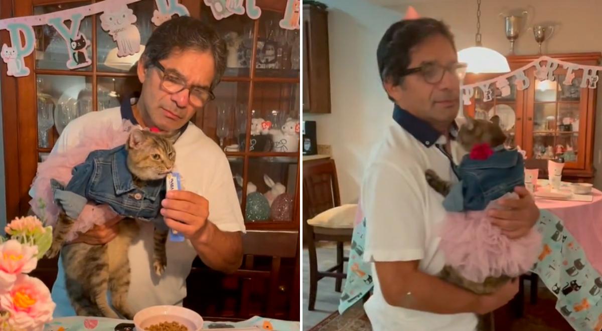 Familia celebra el quinceañero de su gatita con tierno vals con su dueño [VIDEO]