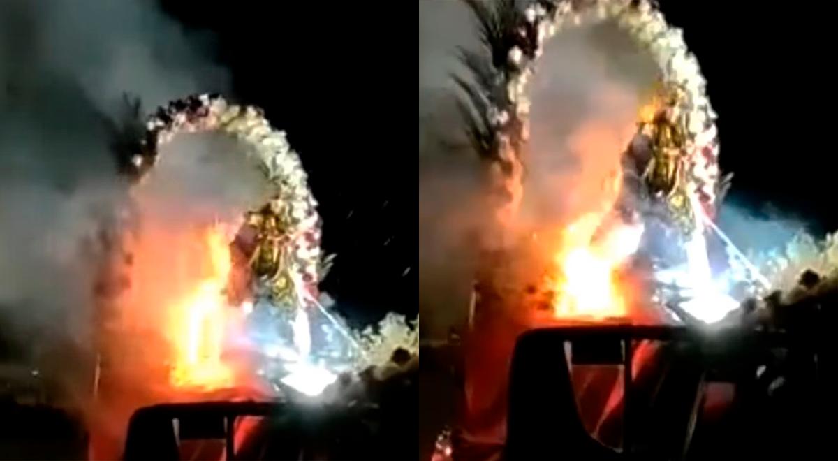 Ica: en plena procesión se incendia imagen de la Virgen de Las Mercedes [VIDEO]