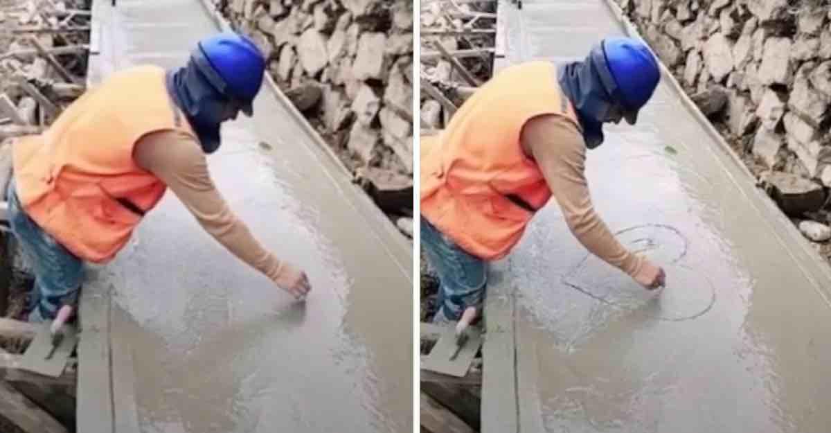 ¡Lindo! Albañil estropeó su trabajo para hacerle un corazón a su novia en cemento