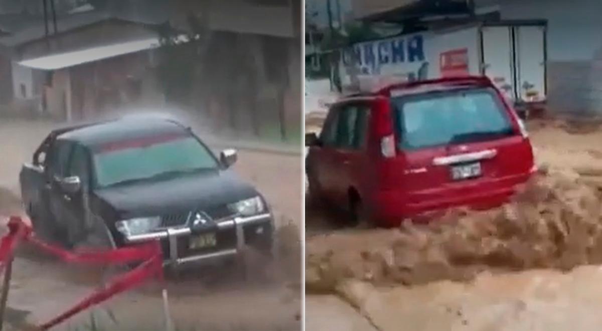 Cajamarca: lluvia torrencial arrastró con varios vehículos [VIDEO]