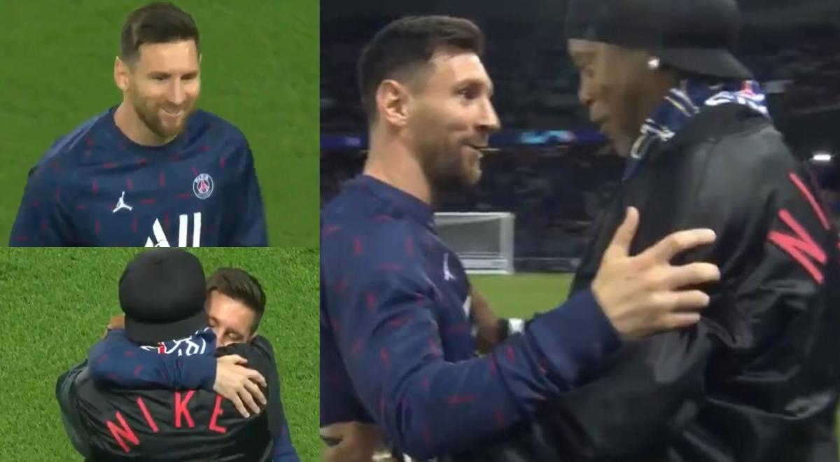 """""""Hijo, ven"""": así fue el interminable abrazo entre Messi y Ronaldinho en el PSG vs Leipzig [VIDEO]"""