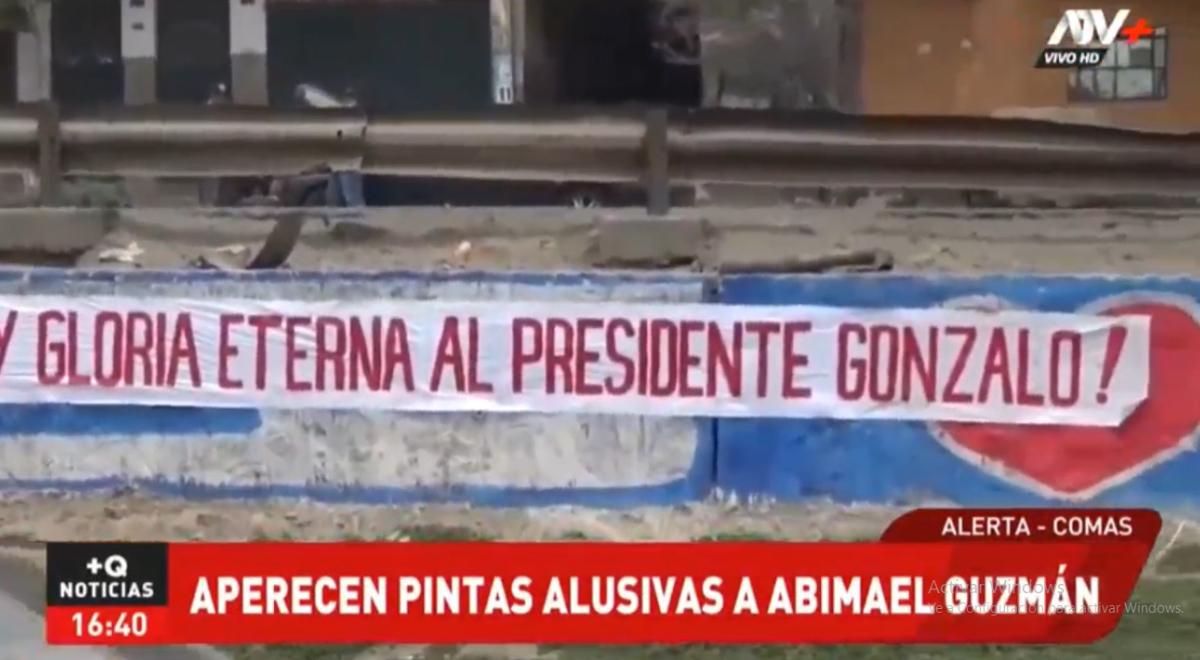Comas: aparecen pintas alusivas al fallecido genocida Abimael Guzmán [VIDEO]