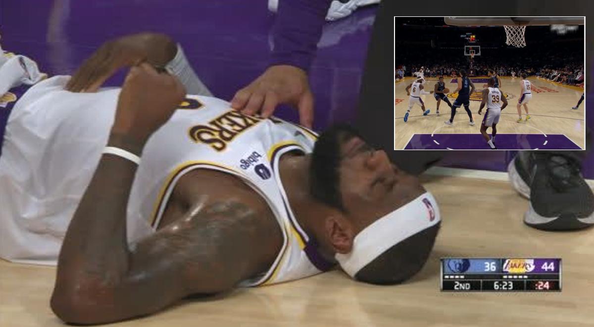 LeBron James preocupó a todos: La estrella de la NBA quedó en el piso tras fuerte golpe [VIDEO]