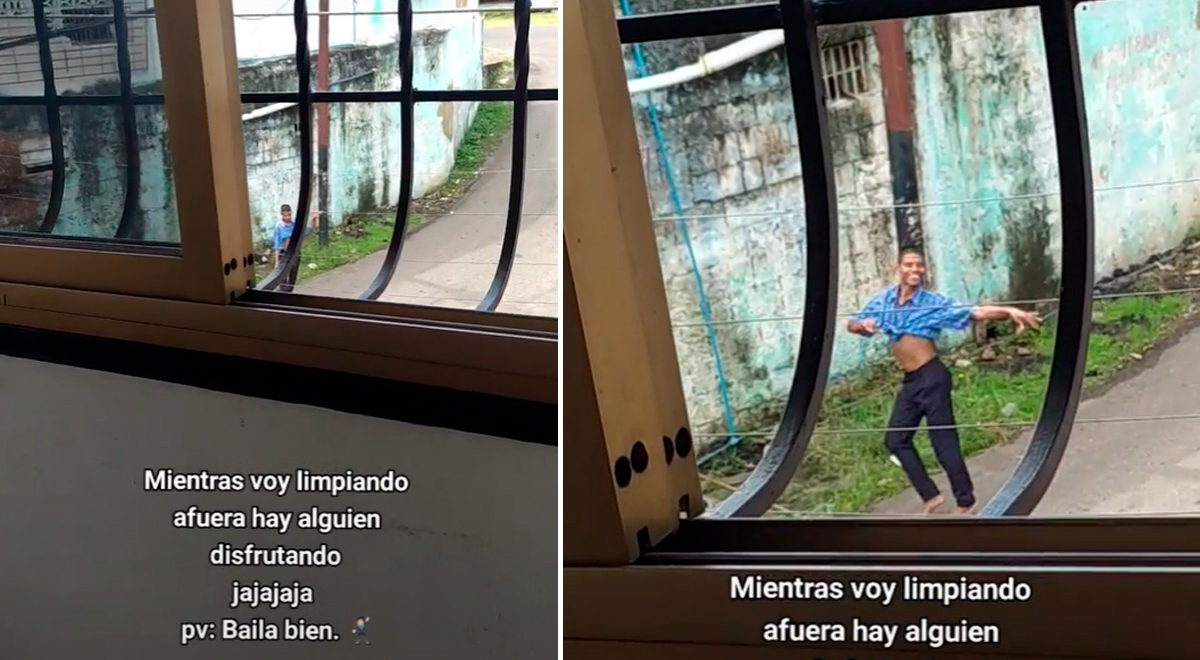 Joven pone samba para limpiar su casa y transeúnte aprovecha la música para bailar [VIDEO]